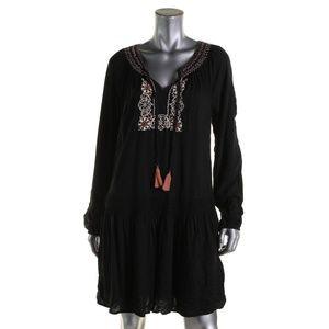 Sanctuary Womens Freya Black Peasant Boho Dress S